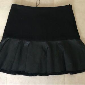Zara XS mini skirt with Faux leather flounce